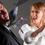 angry businesswoman is slapping across the businessman's face